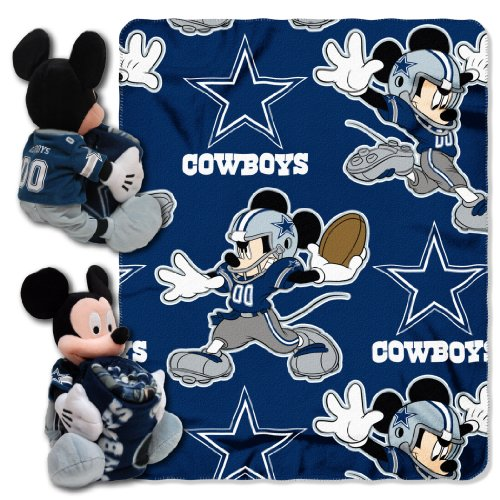 NFL Dallas Cowboys Mickey Mouse Pillow with Fleece Throw Blanket