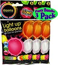 illooms Light Up LED Balloons 5 Pack Party Pack Bundle – 3 Pack (15 Balloons Total)