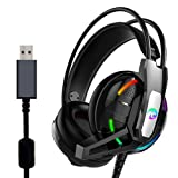 USB Gaming Headset, 7.1 Surround Sound Gaming Headphone with Mic Volume Control LED Light for PC, MAC, iOS Android (Black) (Color: blue)