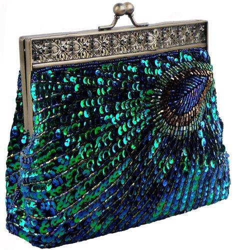 Dawdyfu Antique Beaded Sequin Peacock Clutch
