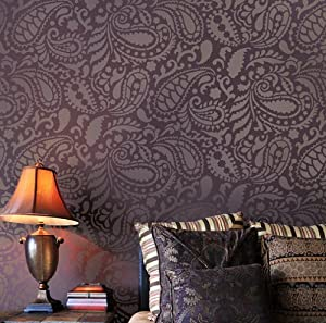 Paisley allover stencil pattern reusable for Wallpaper for bedroom amazon