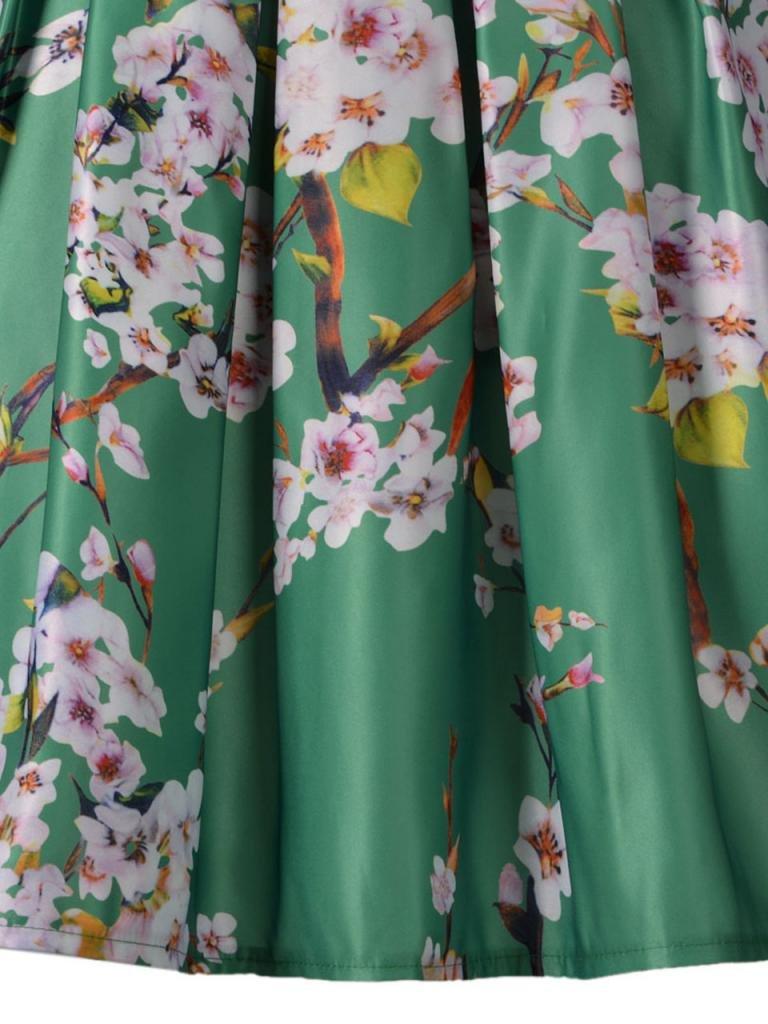 Choies Women's Black/Green/White/Blue Sakura Skater Skirt With Pleat 3