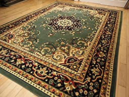 Traditional Green Rugs 8 X 11 Area Rugs for Living Room Persian Rugs for Dining Room Area Rugs 8x10 Clearance (Large 8\'x11\')