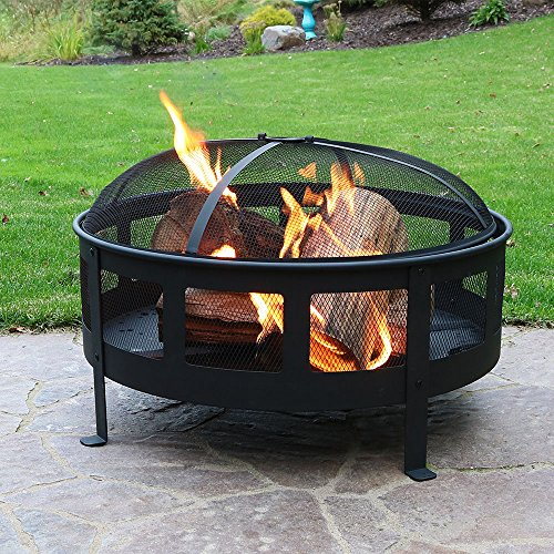Sunnydaze-30-Inch-Bravado-Mesh-Wood-Burning-Fire-Pit-with-Spark-Screen