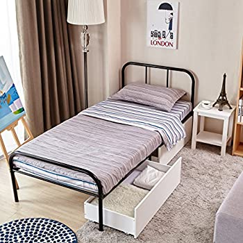Green Forest Twin Size Bed Frame with Headboard and Stable Metal Slats Boxspring Replacement Single Platform Mattress Base,Black