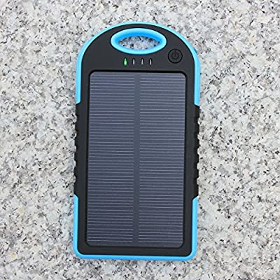 Solar Charger, Upow 5000mAh Portable Charger Dual USB Port Solar Power Bank Solar Battery Charger Backup Battery Fits most USB-Charged Devices