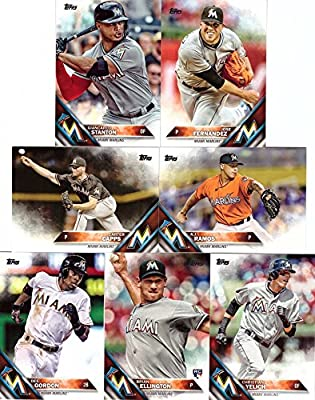 2016 Topps Series 1 Miami Marlins Baseball Card Team Set - 7 Card Set - Includes Giancarlo Stanton, Jose Fernandez, Christian Yelich, Dee Gordon, and more!