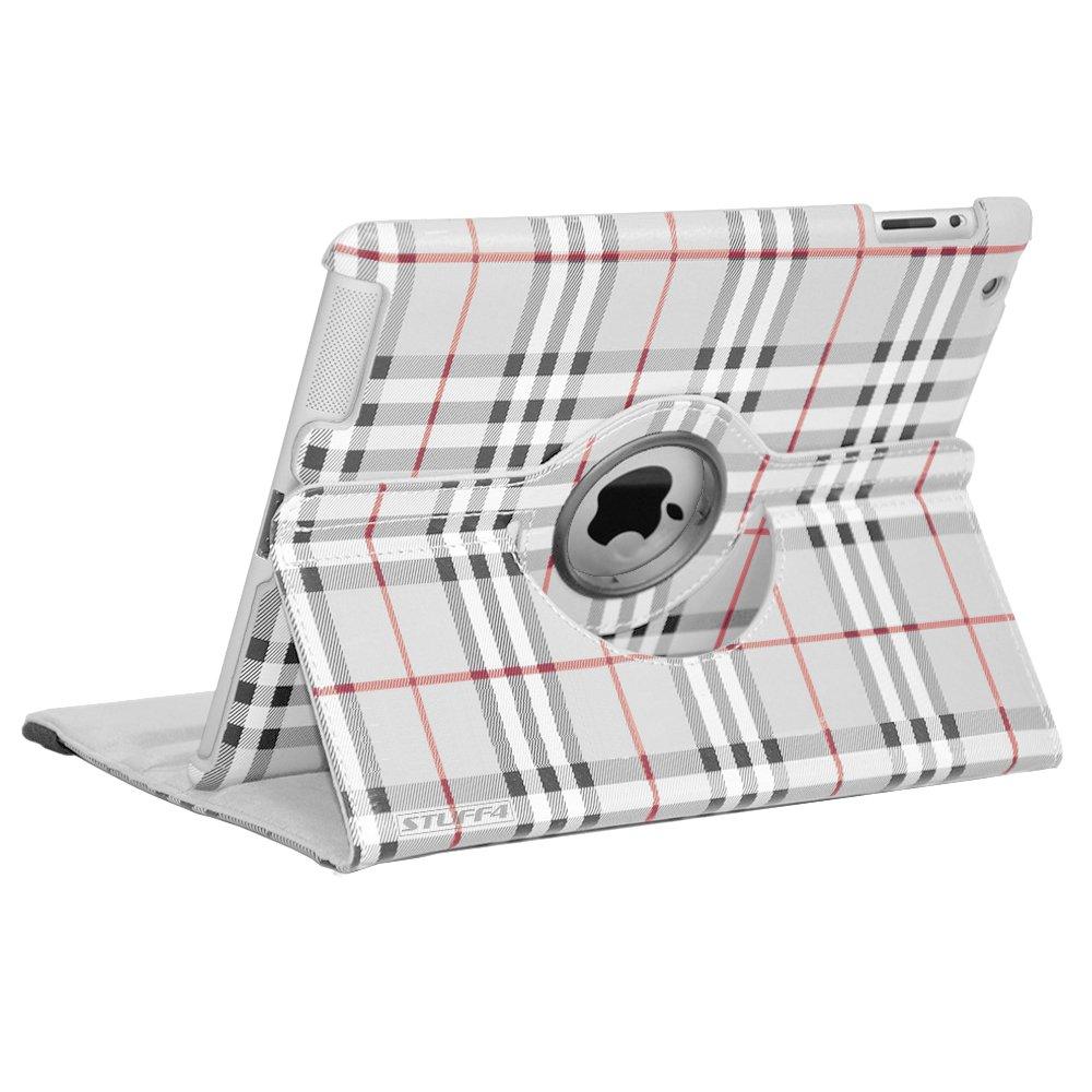 Stuff4 MR-IP234-L360-PAT-BURB-GY-STY-SP - Funda de cuero para iPad con rotación de 360º, acción pivotante para apoyar y poner en posición apaisada, gris grafito (graphite gris check)  Informática revisión y descripción más