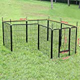 Songmics 8-tlg Welpenauslauf für Hunde Kaninchen kleine Haustiere 80 x 80 cm schwarz PPK88H -