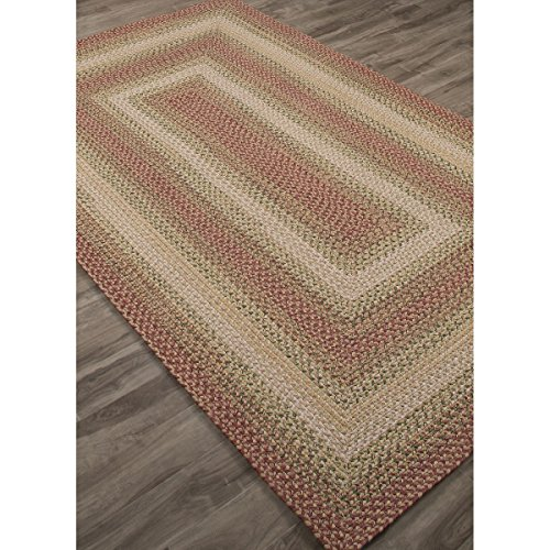 8' x 10' Blush Red, Light Pink, & Grass Green Braided Tuscany Striped Pattern Area Throw Rug