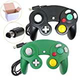 Poulep 2 Pack Classic Wired Gamepad Joystick Controllers for Wii Game Cube Gamecube (Black and Green) (Color: black and green)
