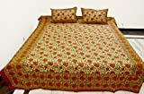 Hand Block Printed Cotton Double Bed Size Bedspread with Pillow Cover