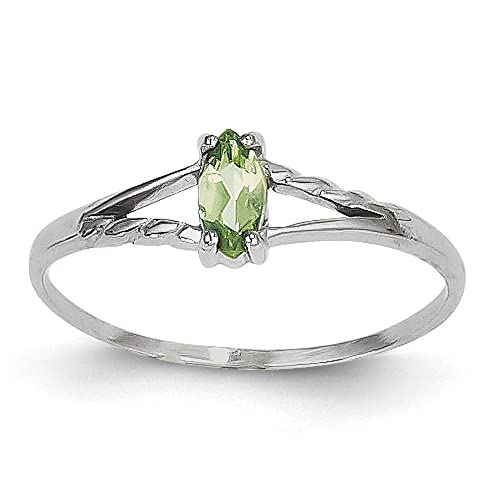 14ct White Gold Peridot Birthstone Ring - Size L 1/2