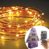 Homestarry® Copper Wire String Lights 20Ft 120 LED's Warm White Remote Control Perfect for Indoor and Outdoor Environments -- Remote Control Feature Easily Regulates Your Lighting - 100% Satisfaction Guarantee.