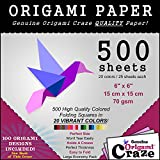 Origami Paper Special - 500 Sheet Economy Pack - 6 Inch Square Sheets - 20 Vivid Colors - 100 Design Ebook Included! (please check the back of the cover)