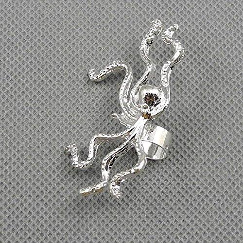 1 Pieces Earrings Ear Earring Supplies Hooks Stud Cuff Clip Punk XF144C Left Side Octopus