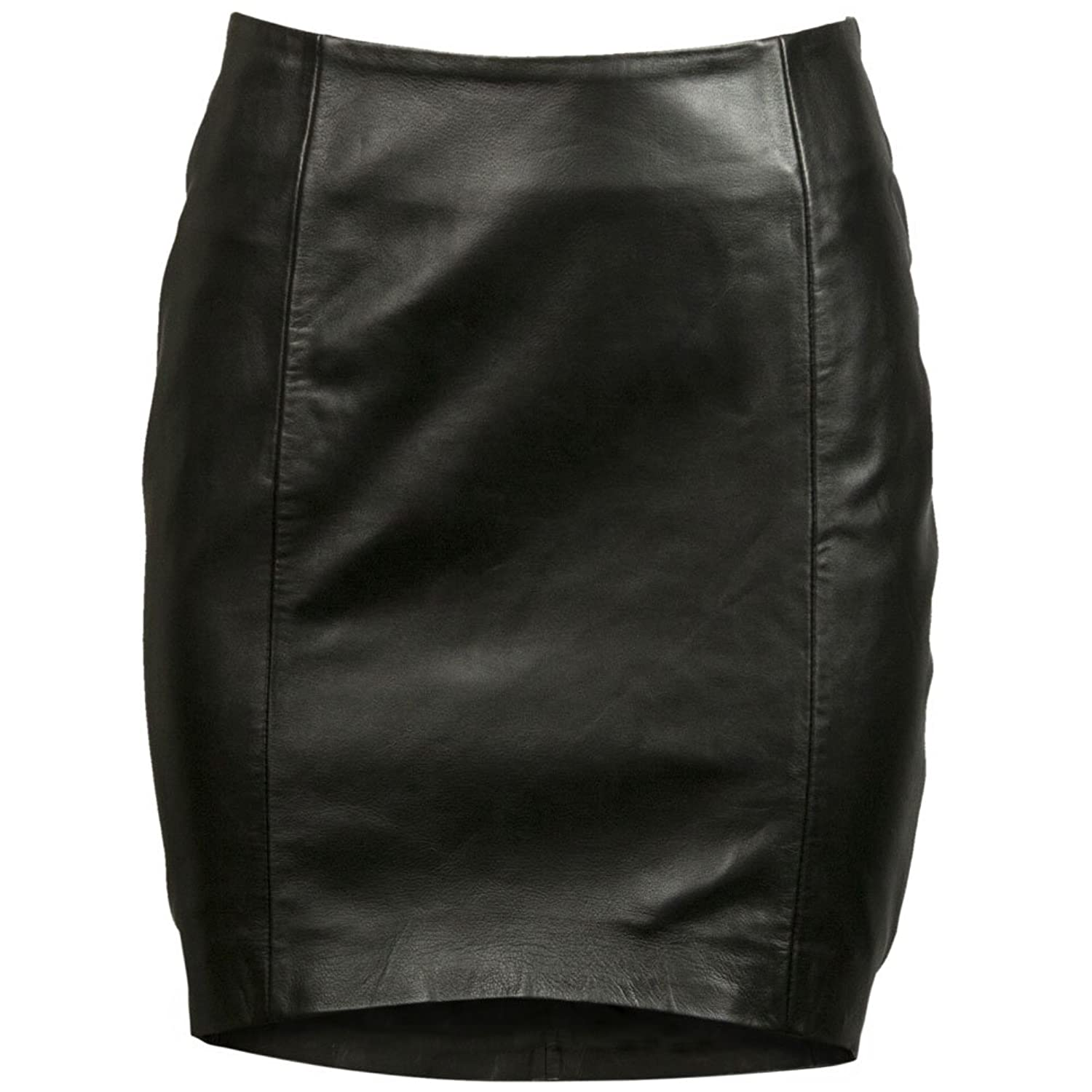 VIPARO Black Front Tilted Short Lambskin Leather Skirt - Ruby цена