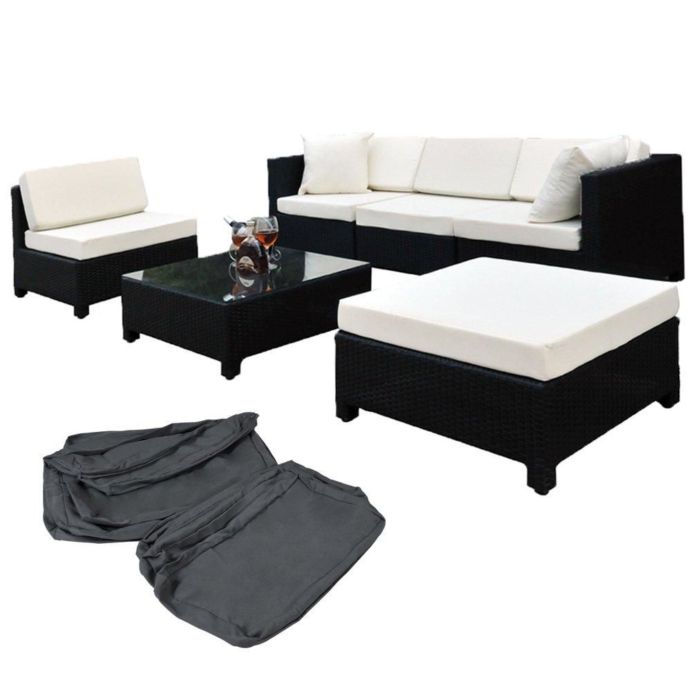 TecTake® Hochwertige Aluminium Luxus Lounge mit 2 Bezugssets Poly-Rattan Sitzgruppe Sofa Rattanmöbel Gartenmöbel schwarz