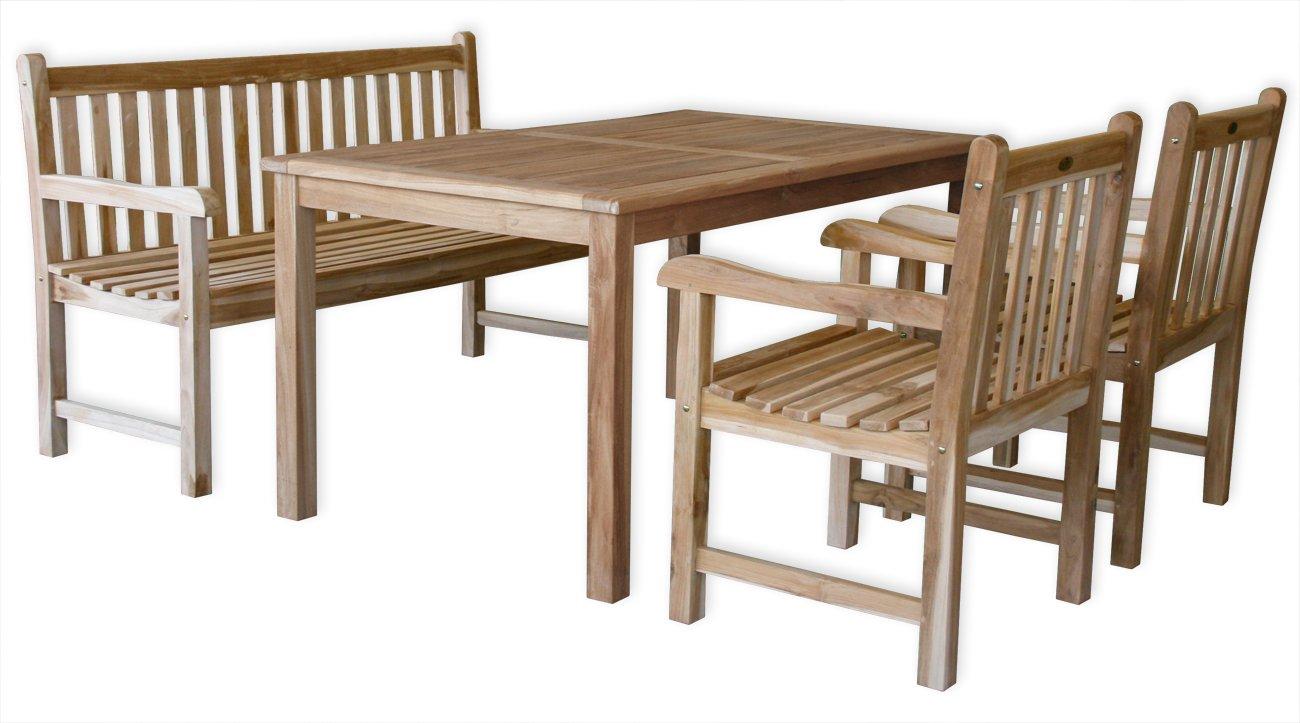 """KMH®, Gartensitzgruppe """"Classic"""" mit 150 cm langem Tisch für 5 Personen (ECHT TEAK) (#102203) bestellen"""