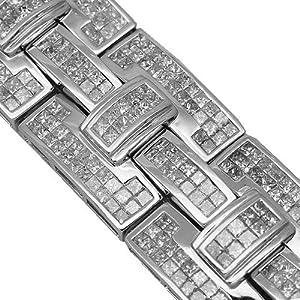 14K White Gold Mens Diamond Hip Hop Bracelet 43.77 Ctw