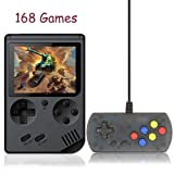Kalolary 168 Games Retro Handheld Game Console, FC System Plus Extra Joystick Portable Mini Controller 3 Inch Support TV 2 Player 168 Classic Game Console, Presents for Children - Black (Color: 168 Games-black)