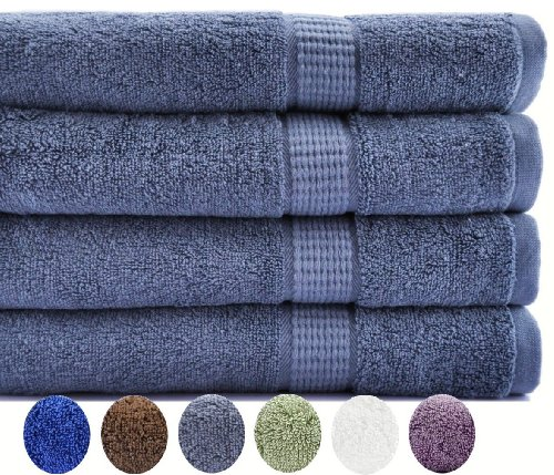 4 Luxury Combed Cotton Extra Large Bath Towels - Grey