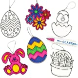 Acrylic Easter Suncatcher Hanging Decorations for Kids to Paint & Colour in (Pack of 6)