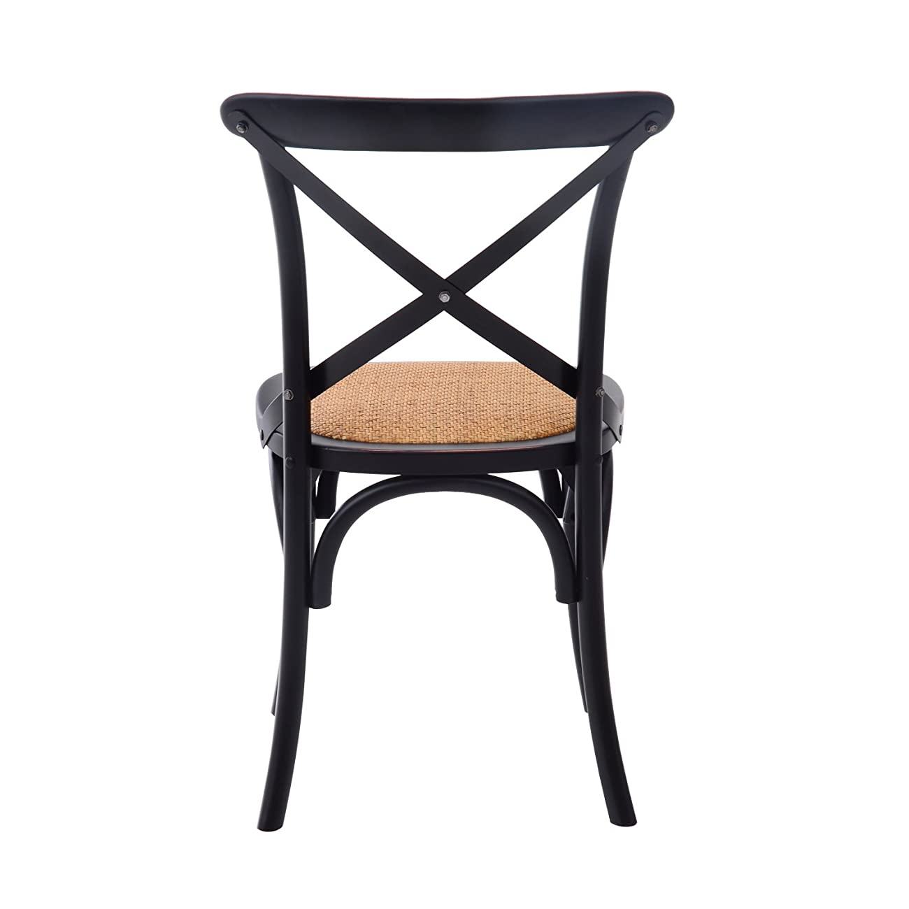 HomCom Vintage-Style X Back Elm Wood Dining Chair - Set of 2 (Black) 3