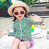HAOCOO 女の子 水着 セパレート 花柄 子供水着 スクール スイムウエア ビキニ UVカット 4点セット (M, ブルー花) ランキングお取り寄せ