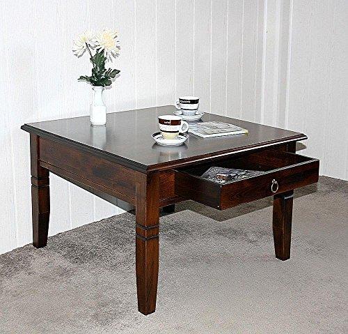 Massivholz-Couchtisch-Beistelltisch-kolonial-Sofatisch-Tisch-65x65cm-mit-Schublade
