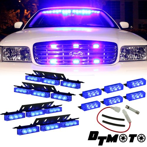 Blue 36X Led Emergency Vehicle Grill Dash Deck Warning Lights - 1 Set