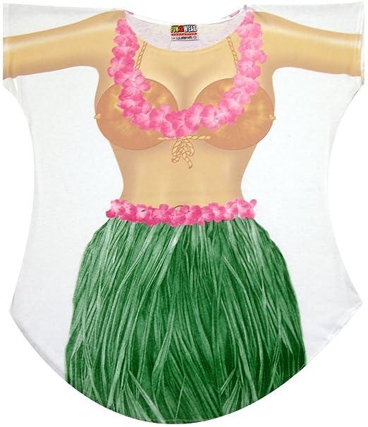 Hula Girl Bikini Cover up T-shirt Lady's Fun Wear (Plus, White)
