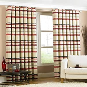 Heavyweight Faux Silk Chenille Lined Cream Red 90x90 Ring Top Striped Curtains by PCJ SUPPLIES