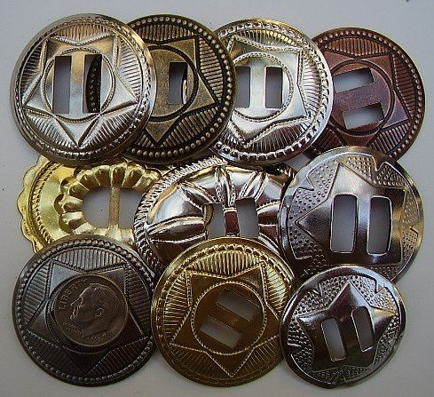 Conchos Grab Bag! Big Mixed Sizes Slotted 50 Pcs