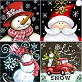4 Pack DIY 5D Diamond Painting by Number Kits, Crystal Rhinestone Diamond Embroidery Paintings Pictures Arts Craft for Home Wall Decor (Snowman, 4x9.8x9.8inch) (Color: 4 Pack Christmas, Tamaño: 4x9.8x9.8inch)