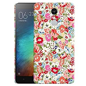 Theskinmantra Floral skull back cover for Redmi Note 3