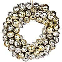 EarthenMetal Handcrafted Shiny Silver And Light Golden Decorative Glass Ball Ring (Set Of 160 Glass Balls / Rings)