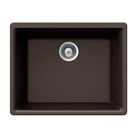 Quartztone Top Mount Composite Granite 24 in. 1-Hole Single Bowl Kitchen Sink in Mocha