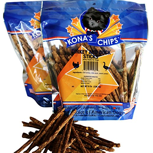 2 Pack - KONA'S CHIPS® TURKEY AND DUCK STICKS 8 OZ Crunchy sticks Made in the USA Only. All Natural Dog Treat, Chemical and Grain FREE. Healthy & Safe Treat for Your Dog (Chicken Leg Dog Treats compare prices)