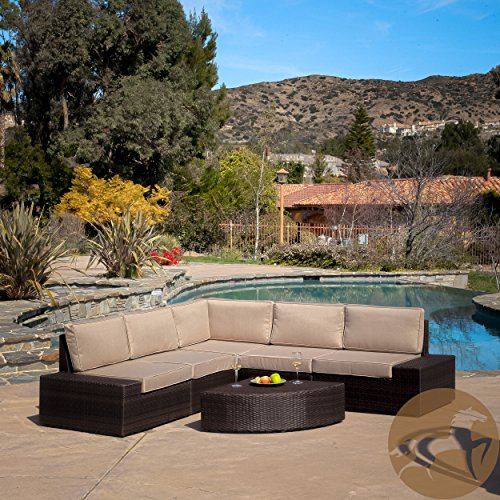 Reddington Outdoor Patio Furniture 6 Piece Sectional Sofa Set With Cushions  | Best Prices