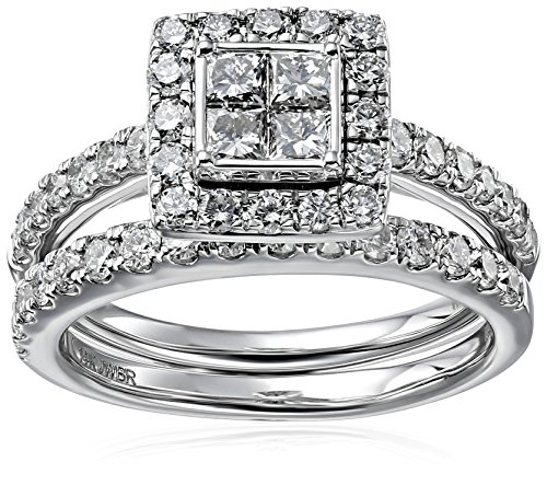 14k-White-Gold-with-Princess-and-Rounds-Diamond-Quad-with-Studded-Diamond-Band-Ring-2cttw-H-I-Color-I2-I3-Clarity