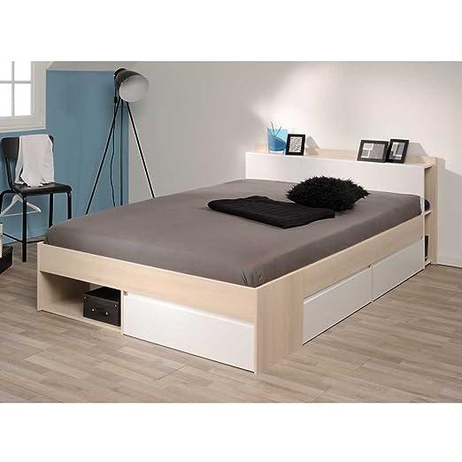 Bett mit Stauraum Akazie Weiß Breite 150 cm Liegefläche 140x200 Pharao24