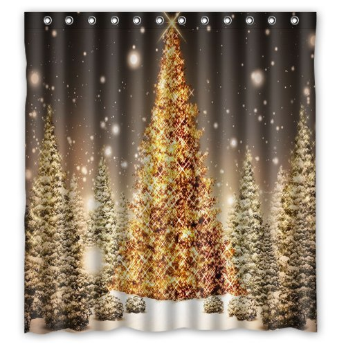 """Anhome Print Golden Merry Christmas Tree In Big Snow Confirm Beautiful Scenery Shower Curtain 66""""X 72"""""""