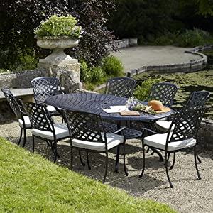 Ancona oval table set with 8 venice armchairs black for Metal garden table and chairs