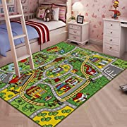 "JACKSON Large Kid Rug For Toy Cars,Car Rug Carpet With Non-Slip Backing, 52""x 74"" Car Rug Play Mat For Kidrooms,Playroom and Classroom,Safe And Fun Play Rug For Boys And Girls"