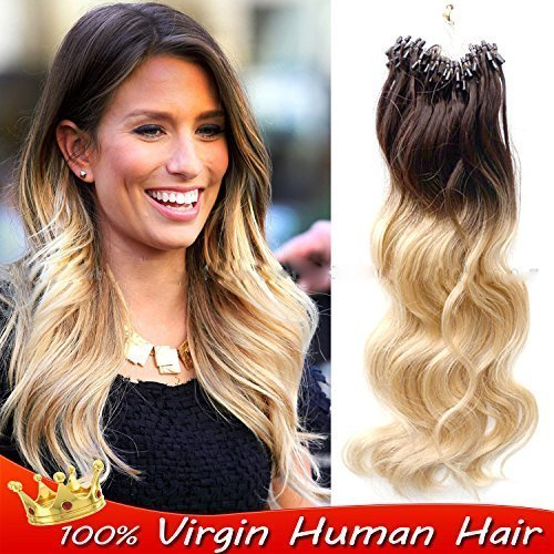 sunny-50strands-dip-dye-micro-loop-hair-extensions-chocolate-brown-to-bleach-blonde-body-wave-human-