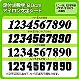 背番号・胸番号用足つきナンバーワッペン(20cm) ※0~9まで1文字単位でお申込み頂けます 生地:刺繍調 (白) 書体 足付きフルブロック