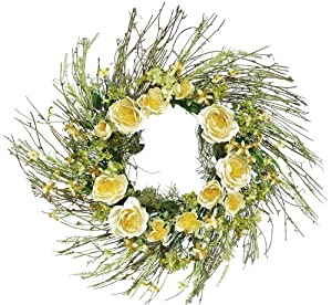 Melrose Wispy Wreath with Soft Cream Colored Roses and Berries, 24-Inch