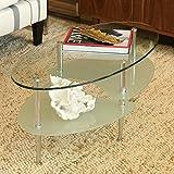 Walker Edison 38 in. Wave Oval Coffee Table
