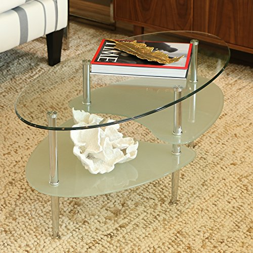 Walker Edison 38 in. Wave Oval Coffee Table